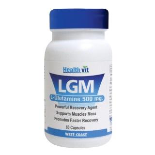 Healthvit LGM L-Glutamine (500mg),  60 capsules  Unflavoured