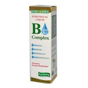 Nature's Bounty Sublingual Liquid B Complex with B-12,  Unflavoured  0.059 L