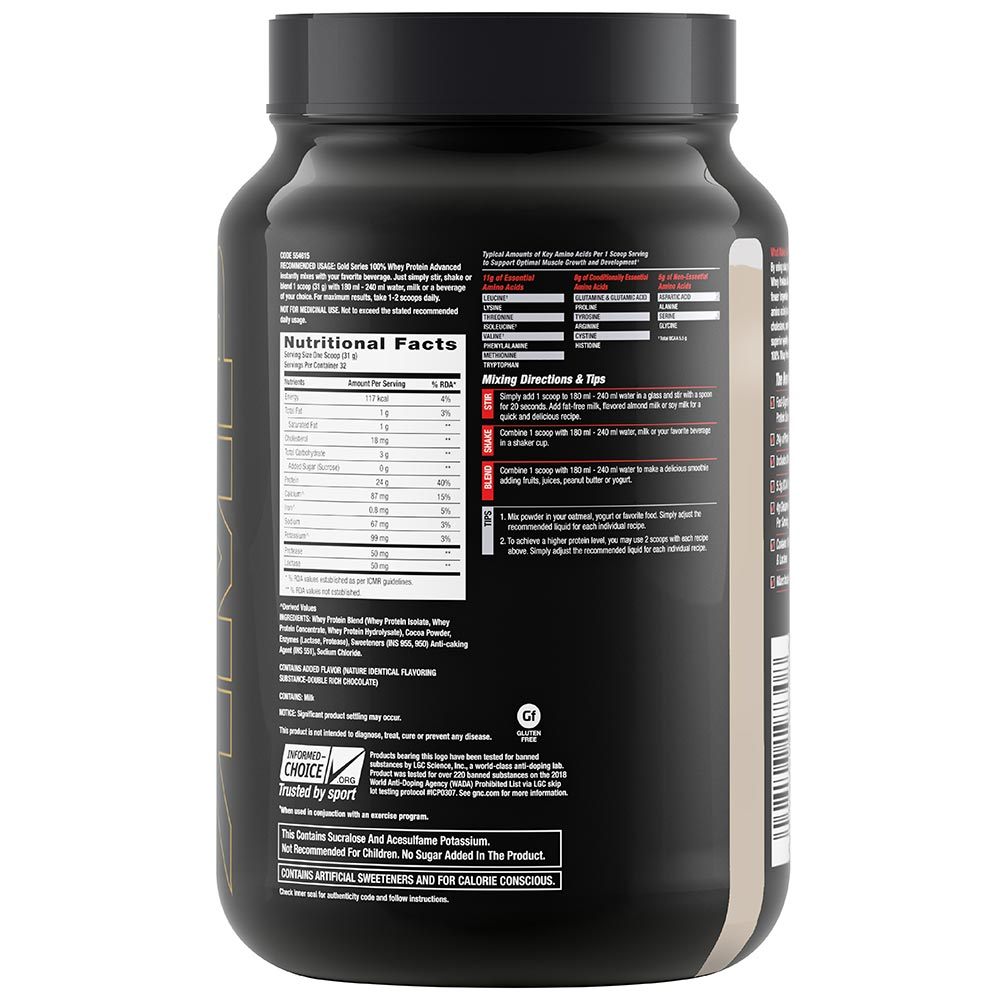 supplementinfo - GNC Amp Gold Series 100% Whey Protein Advanced,  2.2 lb  Double Rich Chocolate