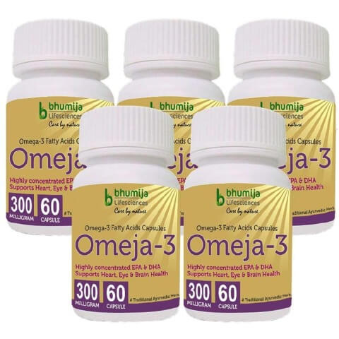 Bhumija Omeja 3 Fatty Acid (300 mg Pack of 5),  60 capsules