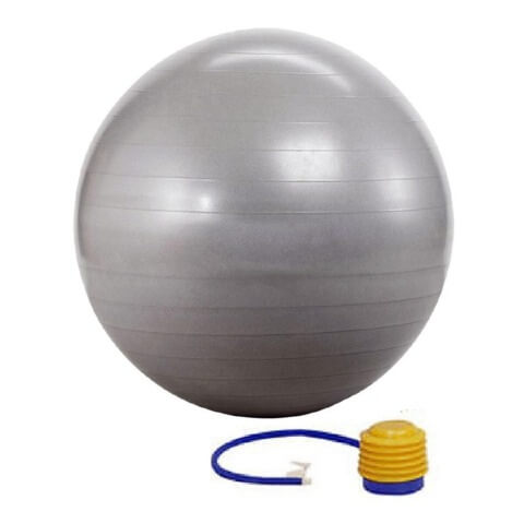 KOBO Anti-Burst Gym Ball With Foot Pump (GB-2-65),  Silver  Silver  65 cm