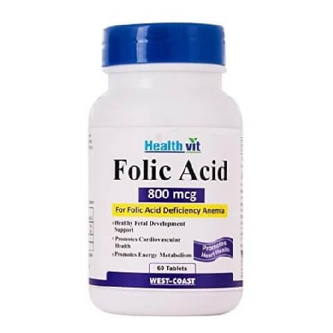 Healthvit Folic Acid (800 mcg),  Unflavoured  60 tablet(s)
