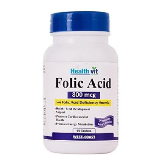 Healthvit Folic Acid (800 mcg),  Unflavoured  60 tablet(s)