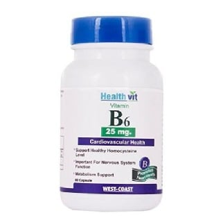Healthvit Vitamin B6 (25 mg),  60 capsules  Unflavoured
