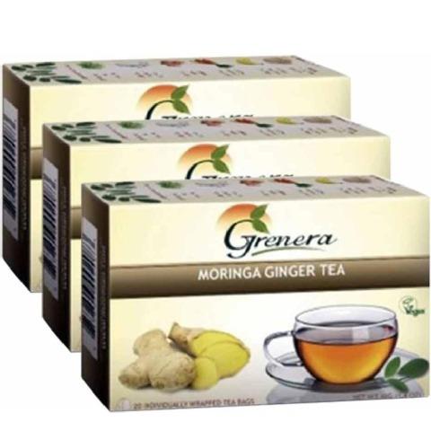Grenera Moringa Tea,  Ginger  20 Piece(s)/Pack  - Pack of 3