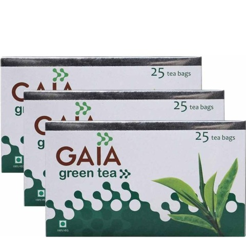 GAIA Green Tea,  25 Piece(s)/Pack  Jasmine  - Pack of 3
