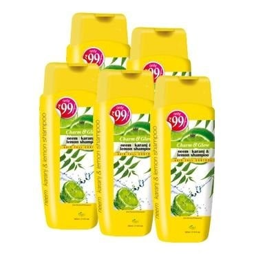 Charm & Glow Neem, Karanj & Lemon Shampoo, 350 ml Hair Fall Control - Pack of 5