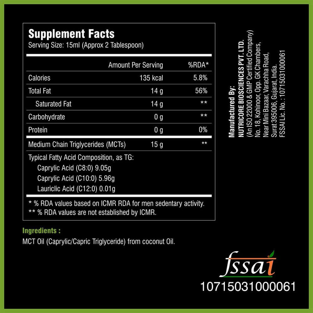 supplement - Health Oxide Keto Medium Chain Triglycerides MCT Oil,  250 ml  Unflavoured