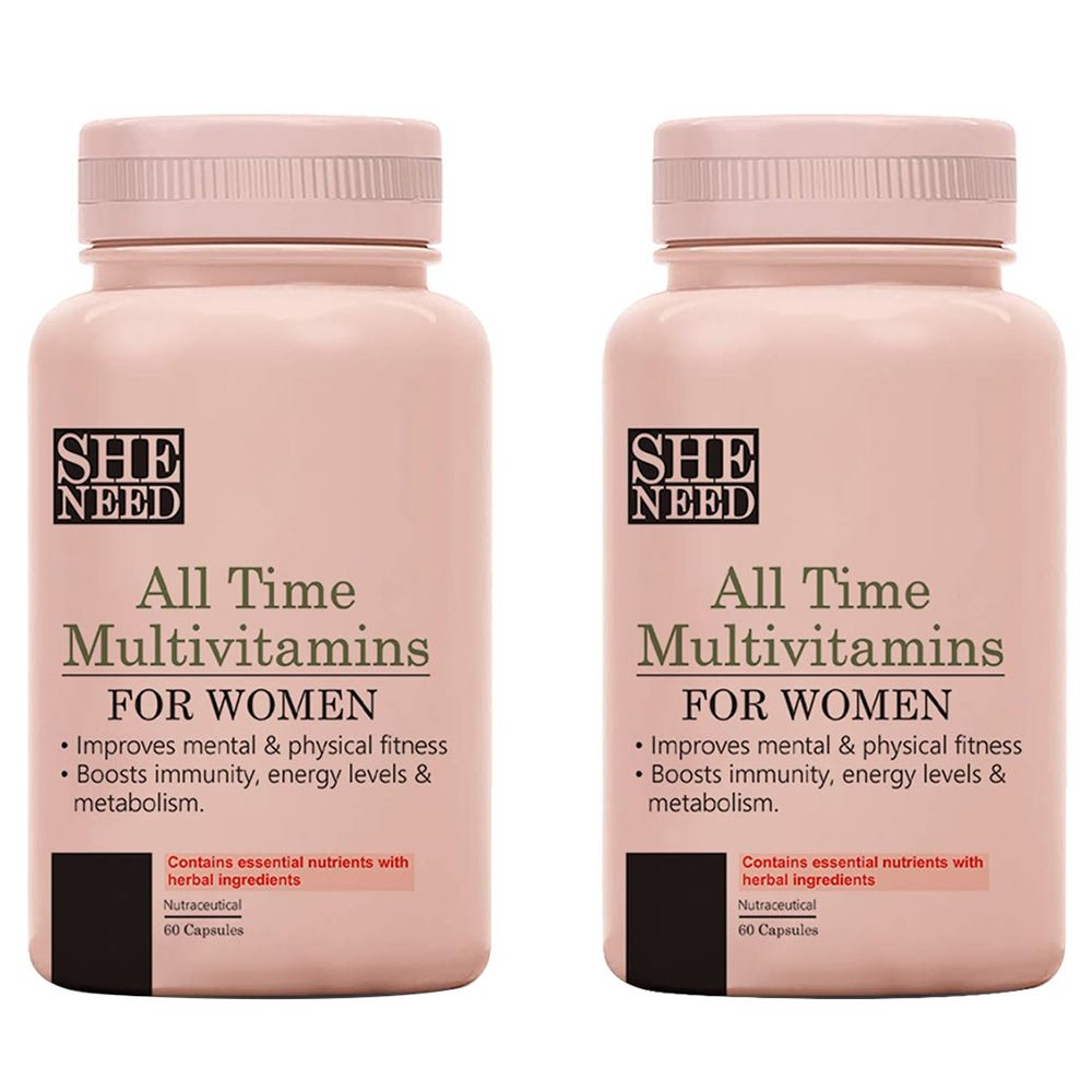 1 - SheNeed All Time Teen Multivitamins for Teenage Girls,  60 capsules  Unflavoured Pack of 2