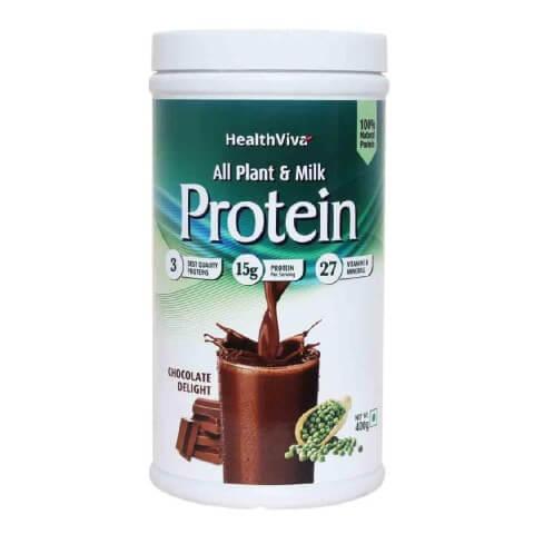 HealthViva All Plant & Milk Protein,  0.88 lb  Chocolate