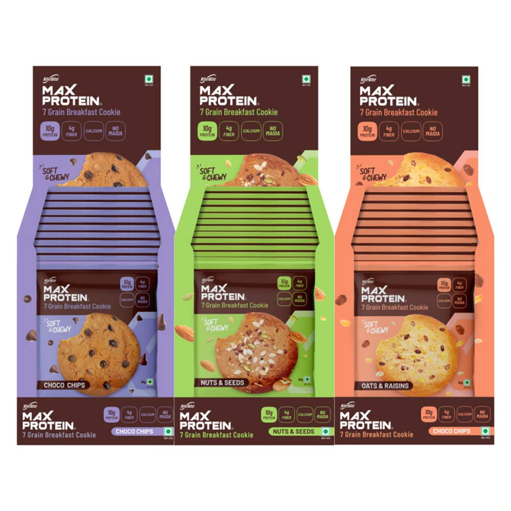 1 - RiteBite Max Protein Cookies,  12 Piece(s)/Pack  Choco Chips+Nuts & Seeds+Oats & Raisins Pack of 12