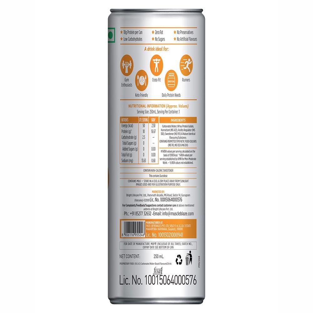 nutritoninfo - MuscleBlaze Sparkling Protein Water (10g Protein),  6 Piece(s)/Pack  Orange