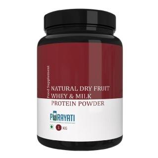 Purayati Natural Dry Fruit Whey & Milk Protein Powder,  2.2 lb  Natural Cocoa