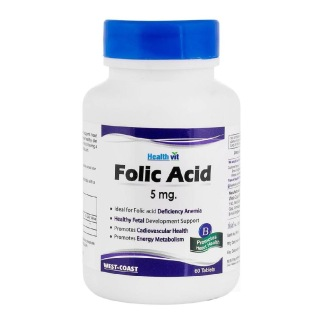 Healthvit Folic Acid (5mg),  Unflavoured  60 tablet(s)
