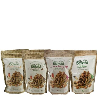 Get Baked Crunch Rocks Combo of 4,  Maple Chocolate Cranberry & Pudina  0.2 kg