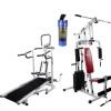 Lifeline Complete Home Gym Set, Hg 002 Square Home Gym 4 in 1 Deluxe Manual Treadmill Bonus Shaker Bottle 500 ml